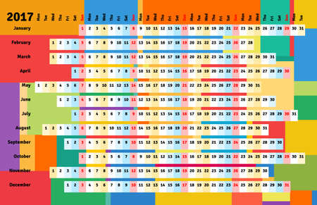 monthly planner: Linear calendar 2017 with days color coding