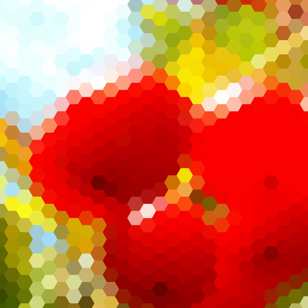 hex: Background with colorful hex grid and blurred picture