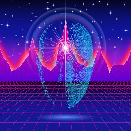 Retro wave shiny head silhouette over neon landscape Stock Illustratie