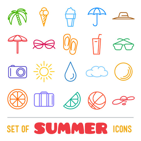 panama hat: Vacation themed icons with thin lines. Panama hat, orange, ice cream and cocktail Illustration