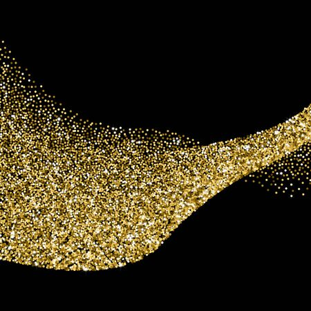 sand grains: Glitter abstract wave of scattered golden confetti