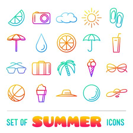 panama hat: Vacation themed icons with thin lines and gradient. Panama hat, orange, ice cream and cocktail