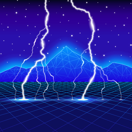 Neon new retro wave landscape with lightning Stock Illustratie