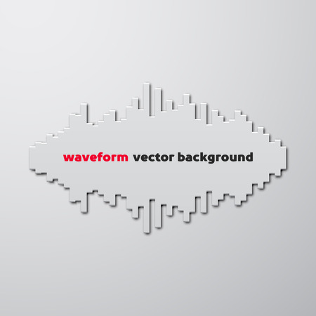 wavelength: Silhouette of sound waveform sign with shadow Illustration