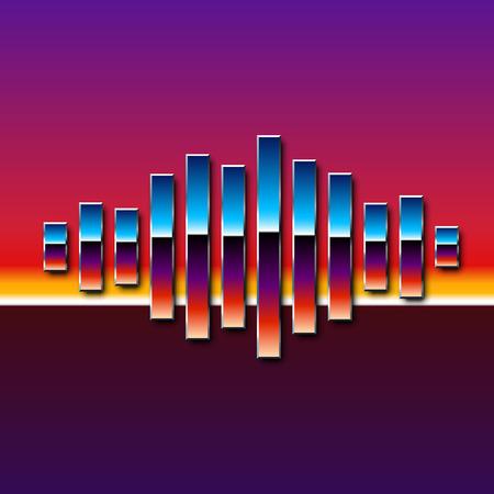 80's: 80s styled sound wave. 1980 chrome design Illustration