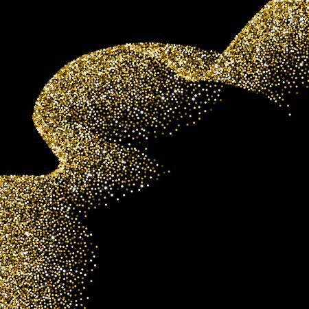scattered: Glitter abstract wave of scattered golden confetti