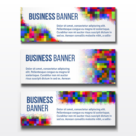 fondo geometrico: Set of three horizontal business banners templates