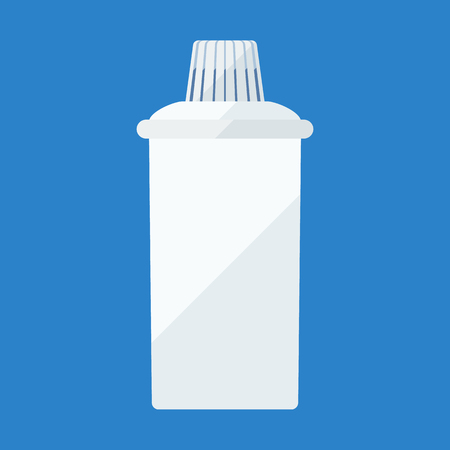 distilled: Filter cartridge flat icon for water purifying jar Illustration