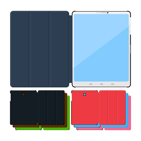 personal accessories: Set of colorful flat tablet pc cases. Black, leather, green, red, blue and pink. Illustration