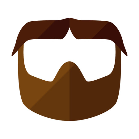 Beard flat icon with hipster styled mustache