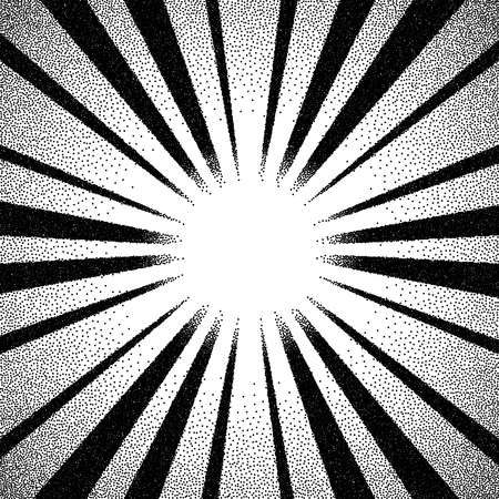 flare: Vintage dotwork sun rays, sunburst or flare with rays Illustration