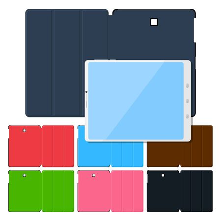 case: Set of colorful flat tablet pc cases. Black, leather, green, red, blue and pink. Illustration