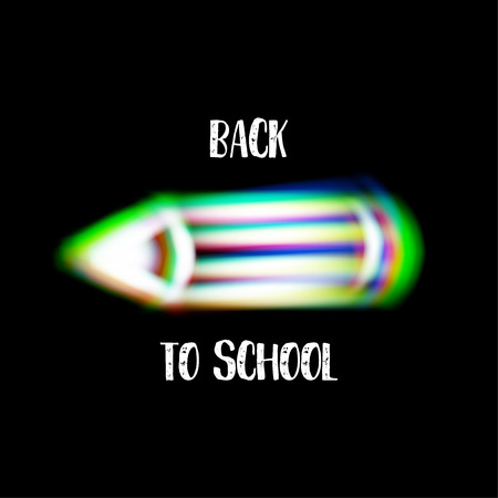 aberrations: Pencil sign with color aberrations. Back to school symbol Illustration