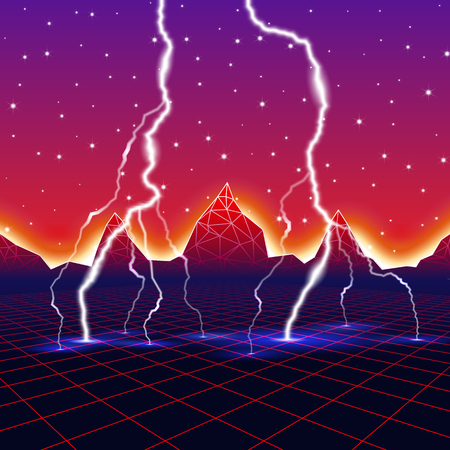 discharges: Neon new retro wave landscape with lightning Illustration