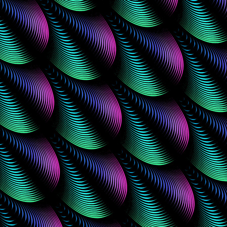 Abstract background with colorful blended volumetric feather lines