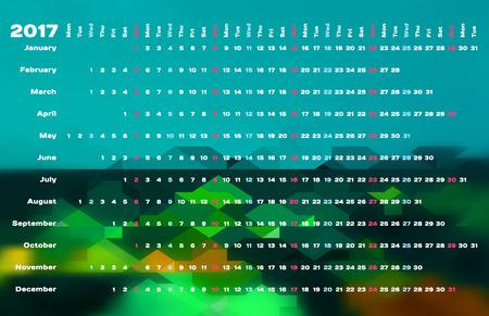 table calendar: Calendar 2017 with days color coding. Linear calendar grid