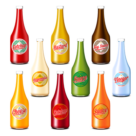 Set of ketchup, vinegar, mustard, soy, cheese and mayonnaise sauce bottles