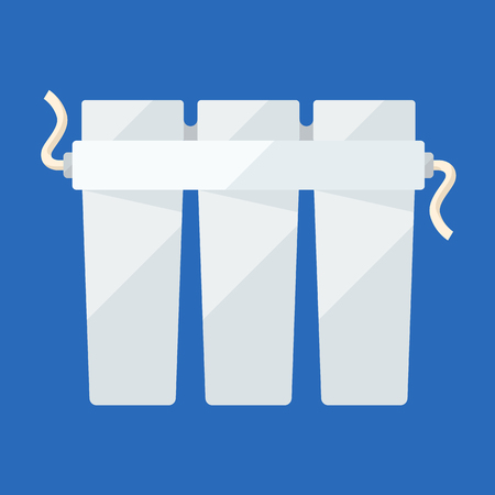 purifying: Filter triple cartridge flat icon for water purifying Illustration