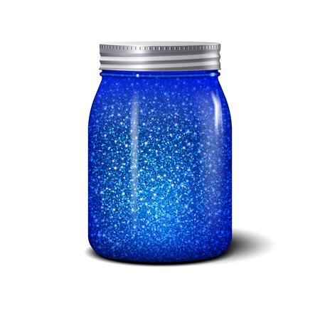 Brokatowy słoik. Realistyczny obiekt z niebieskimi błyskami