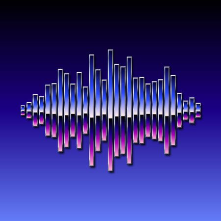 electronic 80s: 80s styled sound wave. 1980 chrome design Illustration