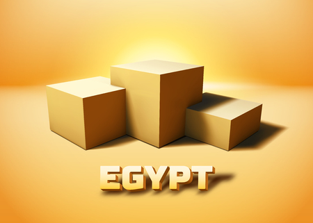 Egypt symbolic pyramid ruins represented with cube pedestal