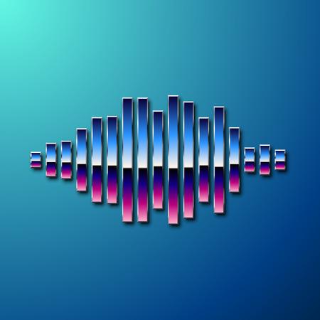 80s: 80s styled sound wave. 1980 chrome design Illustration