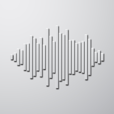 vibrations: Silhouette of sound waveform sign with shadow Illustration