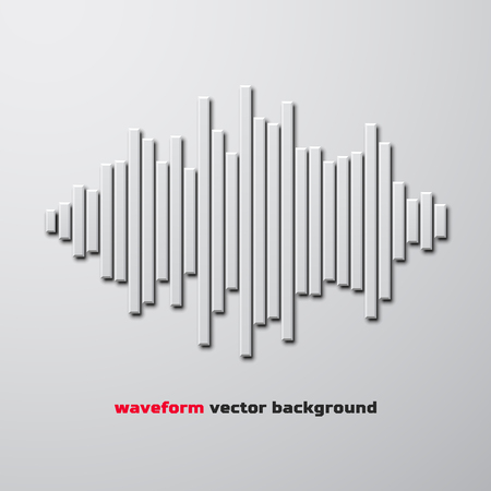 waveform: Silhouette of sound waveform sign with shadow Illustration