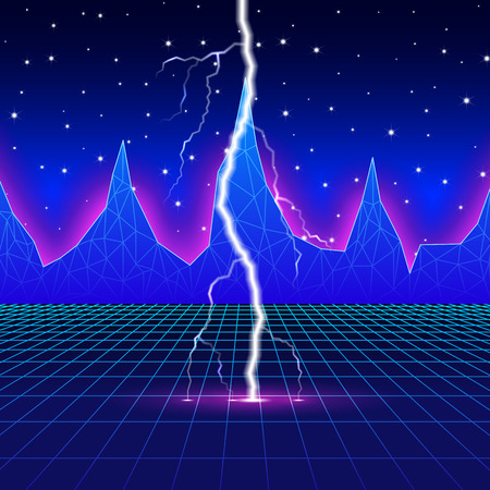 electric grid: Neon new retro wave landscape with lightning Illustration
