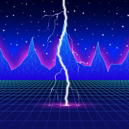 Neon new retro wave landscape with lightning Illustration