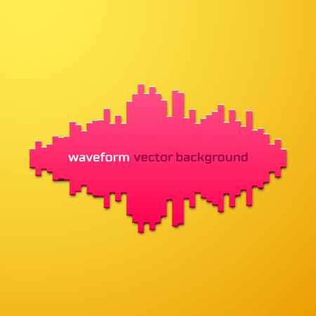 Silhouette of sound waveform sign with shadow Illustration