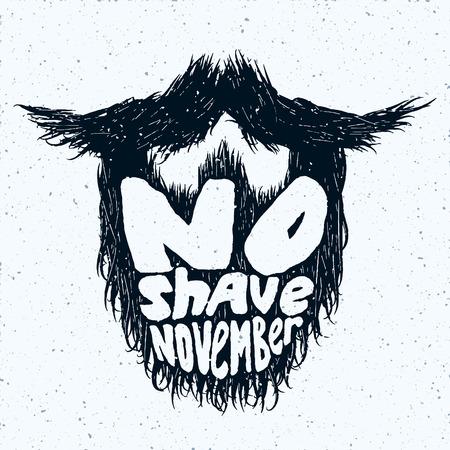 ないひげをそる 11 月レタリングとひげシルエット