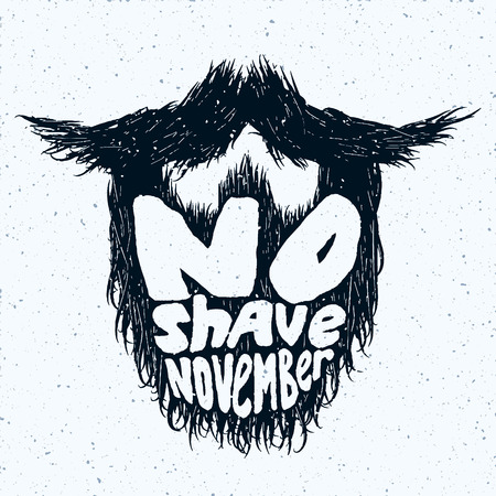 shave: Beard silhouette with No Shave November lettering Illustration