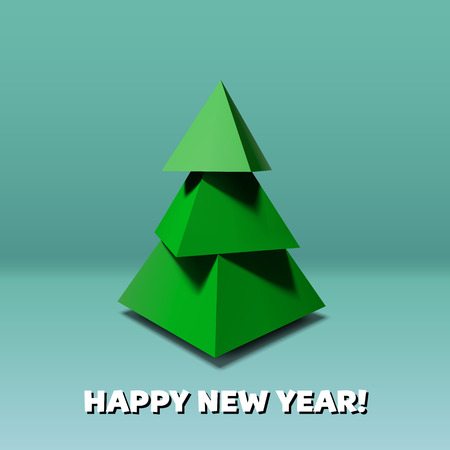 low poly: Christmas tree made of 3d low poly pyramids
