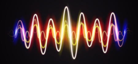 Neon waveform shiny styled music sign with flares