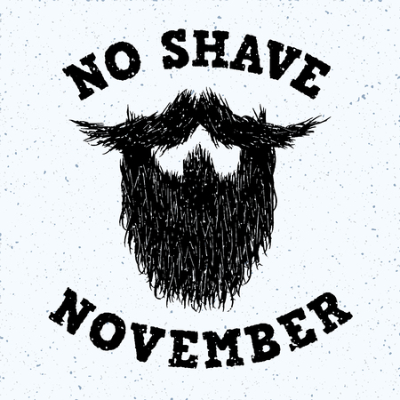 burly: Beard silhouette with No Shave November lettering Illustration