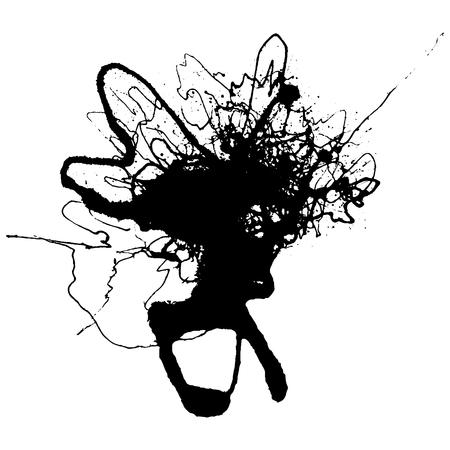 messy hair: Gel ink blot with grungy ravel texture Illustration