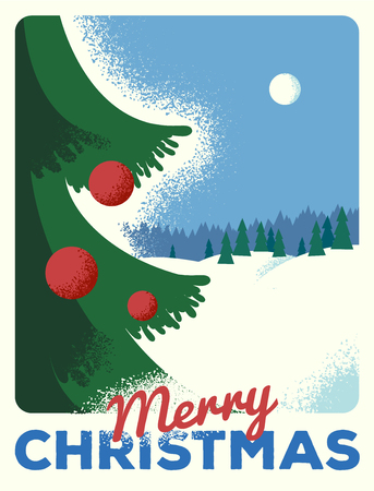 Christmas greeting card, retro styled with scratched paper Illustration