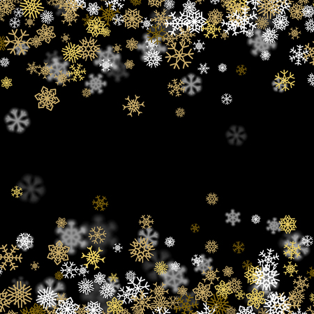 gold christmas background: Snowfall background with golden snowflakes blurred in perspective