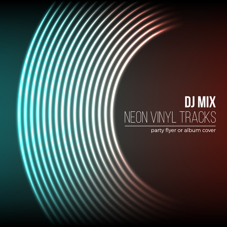 grooves: Vinyl grooves as neon lines background. 80s vapor wave style for dj mix cover