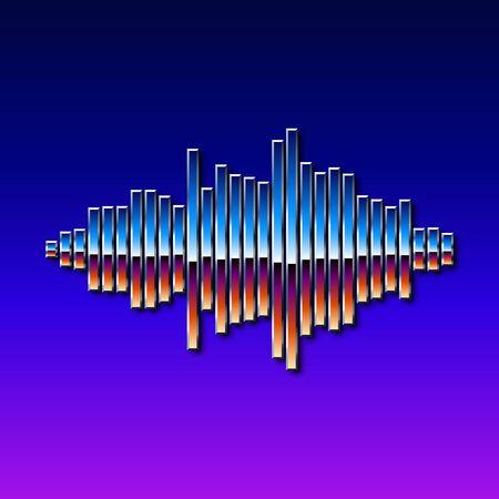 computer club: 80s styled sound wave. 1980 chrome design Illustration