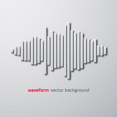 waveform: Silhouette of sound waveform sign with shadow Illustration