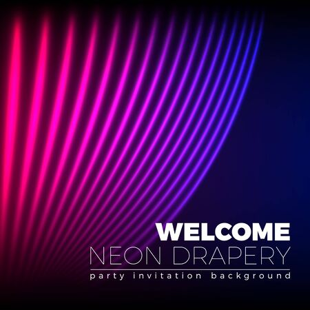 drapes: Drapery futuristic background with 80s style neon lines. Welcoming drapes for cover or party invitation made in new retro wave trend. Illustration
