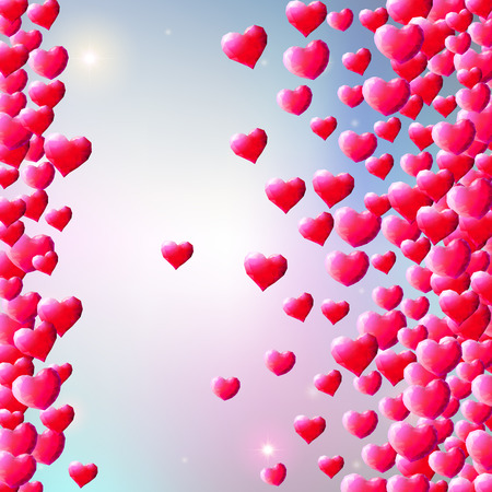 Valentines Day background with scattered low poly gem hearts Illustration