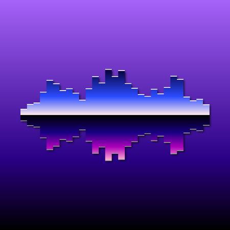 80s styled sound wave. 1980 chrome design Illustration