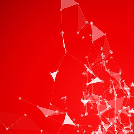 Christmas technology background with snowflakes over triangular grid