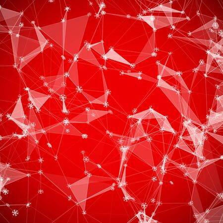 triangular shape: Christmas technology background with snowflakes over triangular grid