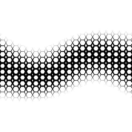 grid: Background with gradient of monochrome hex grid
