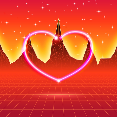 80s styled retro futuristic card with neon heart Illustration