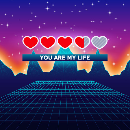 love life: Valentines Day hearts of love themed retro game card with 80s styled neon landscape and life status bar